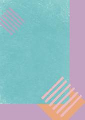 ピンク、紫、緑色、ボーダー模様の色彩構成のグラフィック素材
