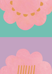 ピンク色の抽象的な花模様の背景素材
