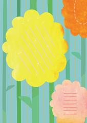 ビタミンカラーの花のボタニカルな背景素材