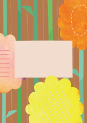 ビタミンカラーの花と茶色い背景のボタニカルな背景素材