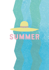 海をイメージした波のグラフィックと、麦わら帽子の夏のイラスト