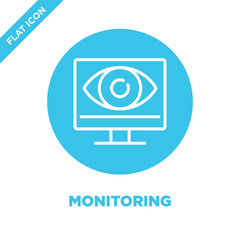 monitoring icon vector. Thin line monitoring outline icon vector illustration.monitoring symbol for use on web and mobile apps, logo, print media.