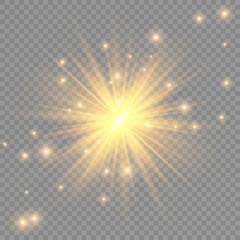 Glow transparent vector light effect set, explosion, glitter, spark, sun flash.
