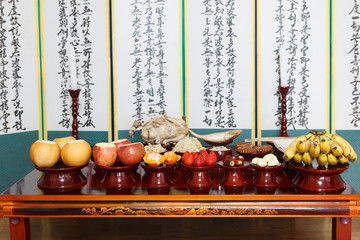 Table setting with various fruits and foods for Korean traditional Holiday