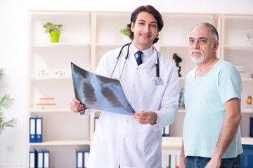 Old man visiting young male doctor