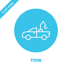 tow icon vector. Thin line tow outline icon vector illustration.tow symbol for use on web and mobile apps, logo, print media.