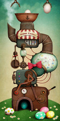 Spring Holiday Greeting Card or Poster with Fantasy Easter Egg Machine