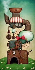 Spring Holiday Greeting Card or Poster with Fantasy Machine.