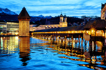 Lucerne, Switzerland, the Old town and Chapel bridge in the late evening blue light