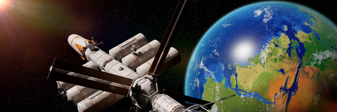 spaceship in orbit of terraformed Mars, the future of the red planet (3d space illustration banner, elements of this image are furnished by NASA)