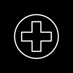 Flat line monochrome medical cross sign for web sites and apps. Minimal simple black and white medical cross sign. Isolated vector white medical cross sign on black background.