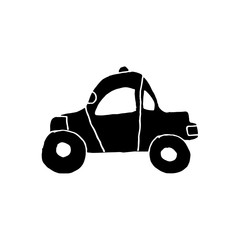 Linear cartoon hand drawn car. Cute vector black and white car doodle. Isolated monochrome car object on white background.