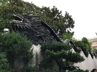 Dragon Stone Statue in a Chinese Garden