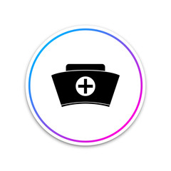 Nurse hat with cross icon isolated on white background. Medical nurse cap sign. Circle white button. Vector Illustration