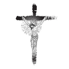 Jesus on the cross. Hand painted with real ink brush, grunge Christian cross Sketch. Vector.