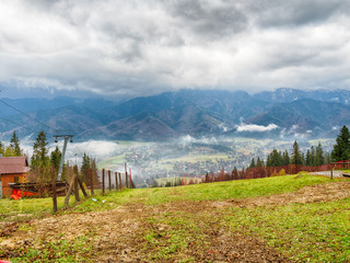 View of Zakopane on the background of the Tatra Mountains