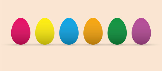 Set of colored Easter eggs, flat design