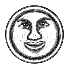 Hand drawn sketch of moon human like face or anthropomorphic planet in black and white, isolated on white. Detailed vintage style stipple drawing. Vector.