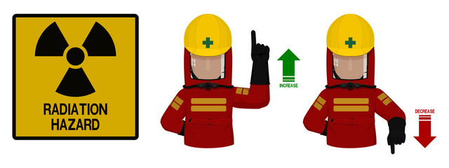 Set of industrial worker with Radiation protective suit is gesturing hand sign ( increase,decrease)