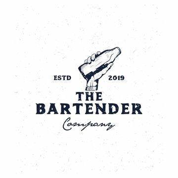 bartender vintage logo template,hand holding bottle hand drawn logo template