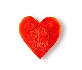 Watermelon that is heart shaped on white background, with clipping path - Image