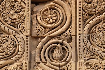 Stone carving on Qutab Minar, Delhi, India  Wall mural