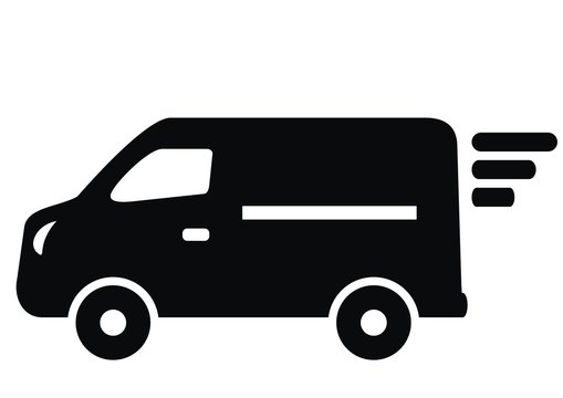 black silhouette of pickup, transport services, vector icon