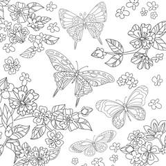 flying butterflies in garden of flowering cherry for your colori
