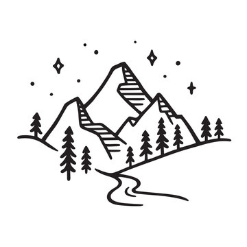 Mountain landscape drawing