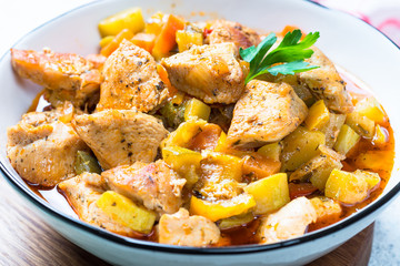 Chicken stew with vegetables.