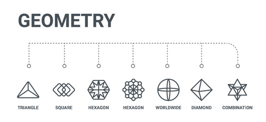 simple set of 7 line icons such as combination, diamond, worldwide, hexagon, hexagon, square, triangle from geometry concept on white background