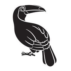 Toucan bird black silhouette on white background