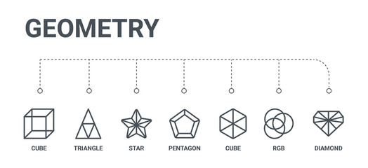 simple set of 7 line icons such as diamond, rgb, cube, pentagon, star, triangle, cube from geometry concept on white background