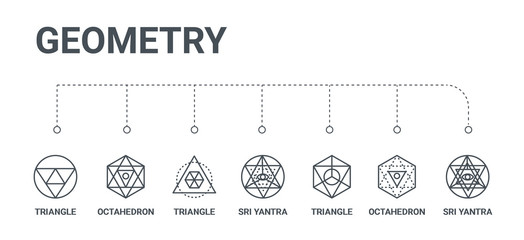 simple set of 7 line icons such as sri yantra, octahedron, triangle, sri yantra, triangle, octahedron, triangle from geometry concept on white background