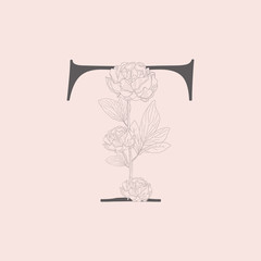 Vector Blooming Floral Initial T Monogram and Logo