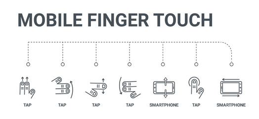simple set of 7 line icons such as smartphone, tap, smartphone, tap, tap, from mobile finger touch concept on white background