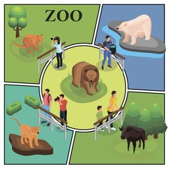 Isometric Zoo Colorful Concept