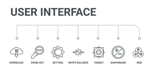 simple set of 7 line icons such as rgb, diaphragm, target, white balance, setting, zoom out, download from user interface concept on white background