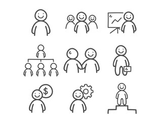 Doodle Business People Icons.