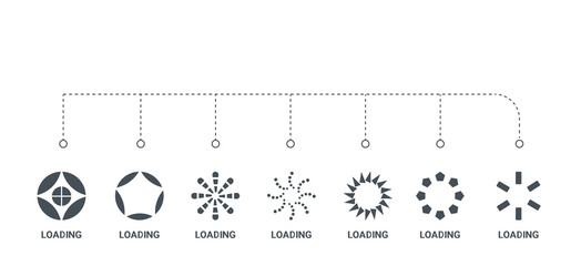 simple set of 7 icons such as loading, loading, loading, from  concept on white background