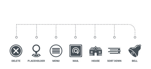 simple set of 7 icons such as bell, sort down, house, mail, menu, placeholder, delete from ui concept on white background