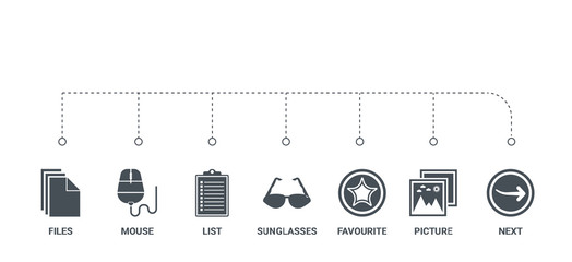 simple set of 7 icons such as next, picture, favourite, sunglasses, list, mouse, files from ui concept on white background