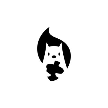 squirrel logo vector icon is holding nuts illustration in negative space style