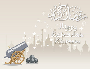Illustration of Silhouette of Mosque and Cannon