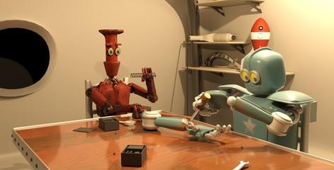 Retro robot is repairing his hand ,3d rendering