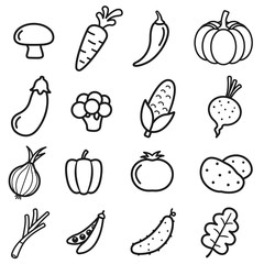 Vegetables Icon Set on White Background
