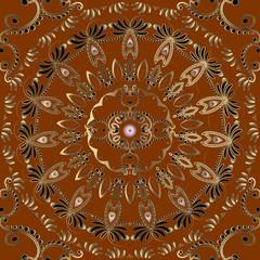 Arabesque vector vintage seamless mandala pattern. Elegance ornamental floral background. Round arabic style mandala. Repeat beautiful ornate backdrop. Decorative design for textile, prints, wallpaper