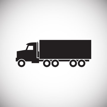 Truck icon on background for graphic and web design. Simple vector sign. Internet concept symbol for website button or mobile app.