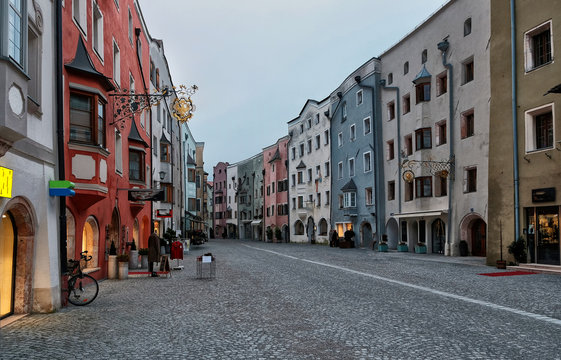 Rattenberg, Austria - january 2018: View of the picturesque town of Rattenberg in Austrian state of Tyrol near Innsbruck. It is the smallest town in the country.