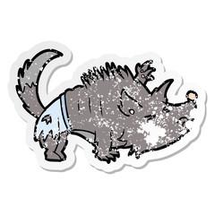 distressed sticker of a cartoon werewolf